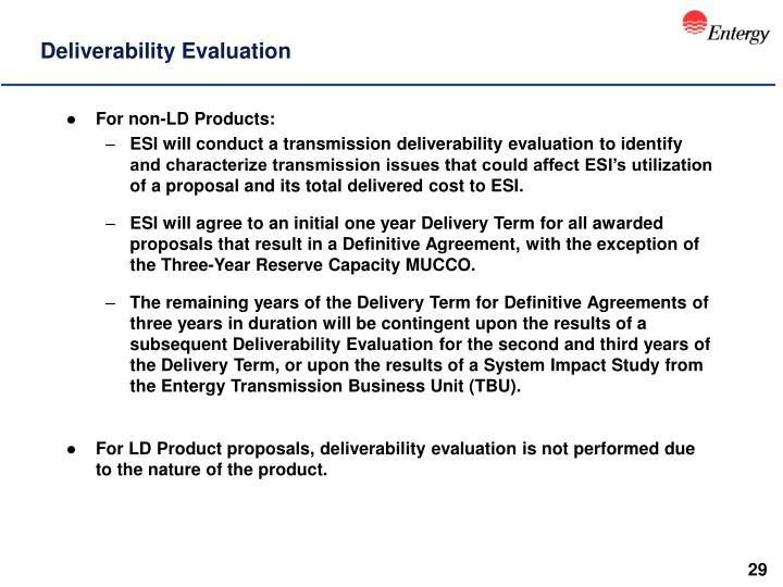 Deliverability Evaluation