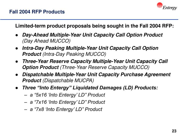 Fall 2004 RFP Products