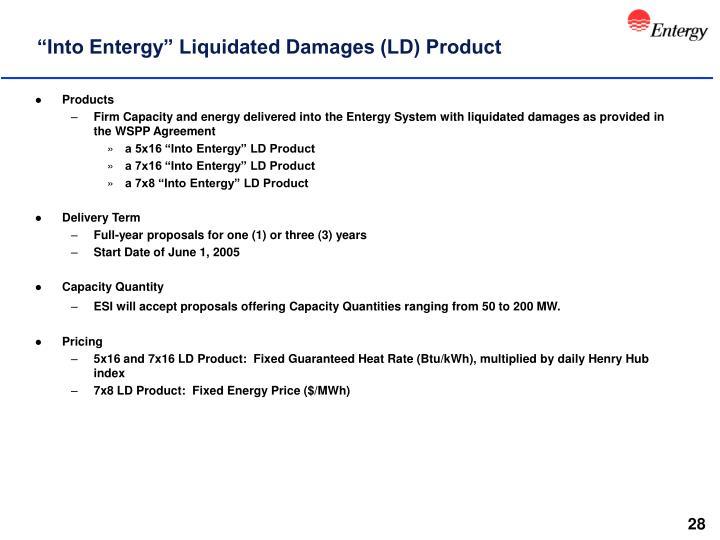 """Into Entergy"" Liquidated Damages (LD) Product"