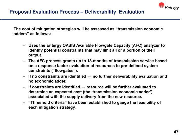 Proposal Evaluation Process – Deliverability  Evaluation