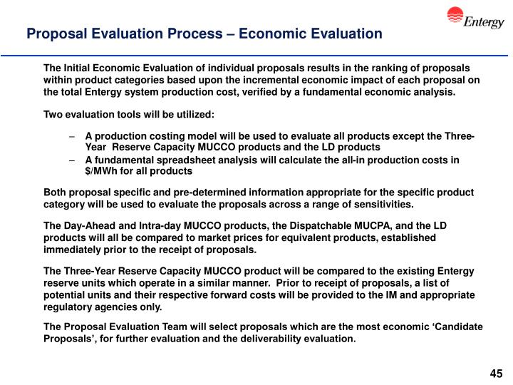 Proposal Evaluation Process – Economic Evaluation