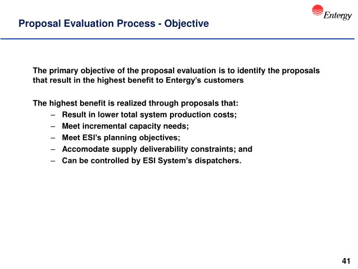 Proposal Evaluation Process - Objective