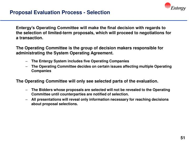 Proposal Evaluation Process - Selection