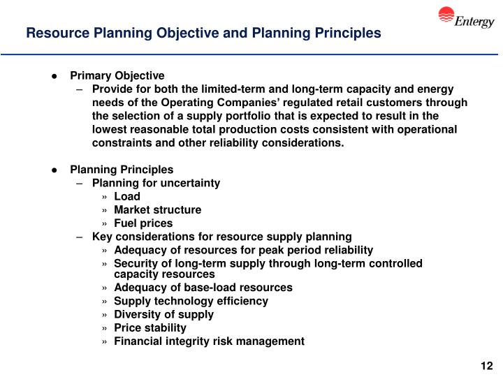 Resource Planning Objective and Planning Principles