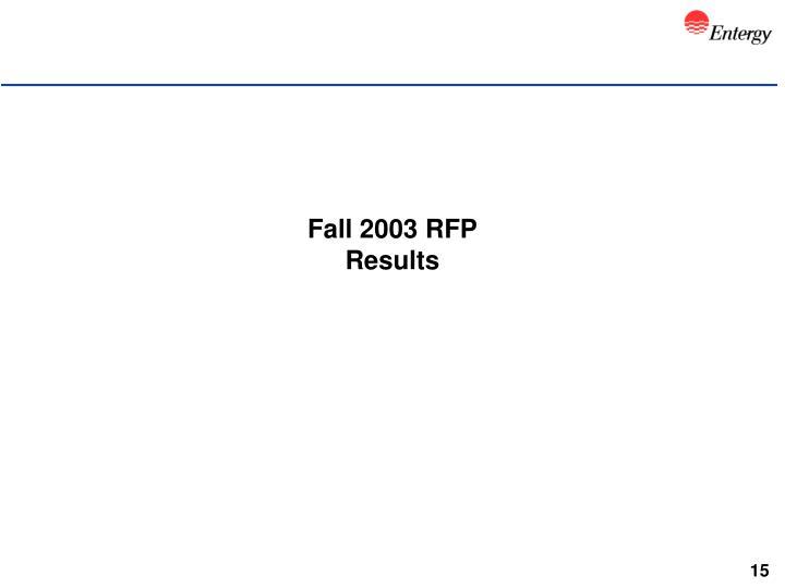 Fall 2003 RFP