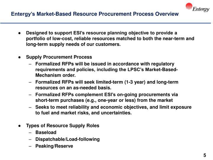 Entergy's Market-Based Resource Procurement Process Overview