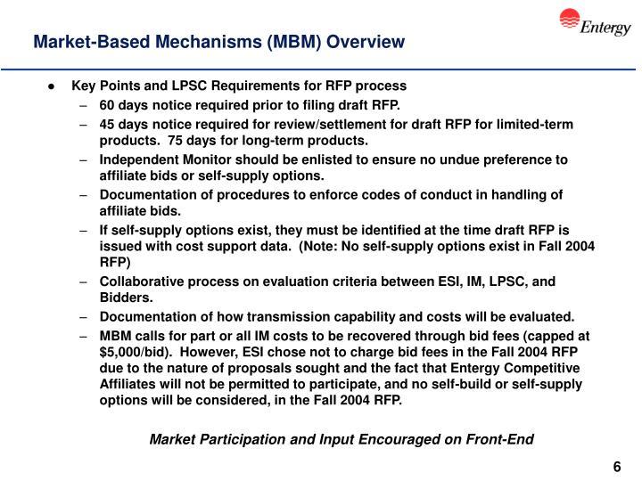 Market-Based Mechanisms (MBM) Overview