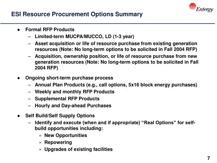 ESI Resource Procurement Options Summary