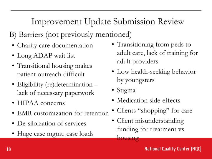 Improvement Update Submission Review