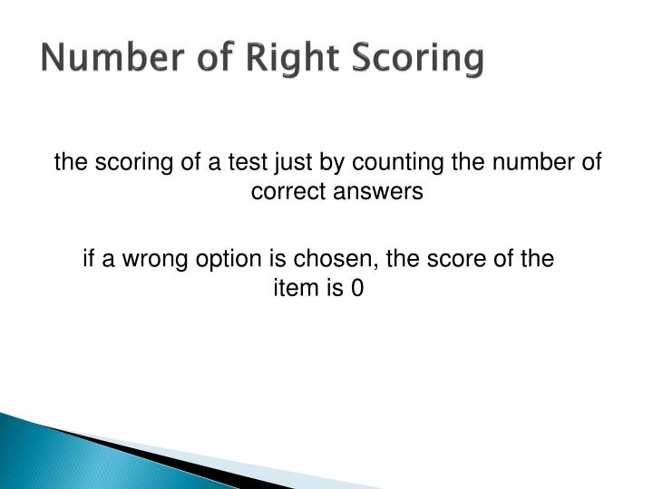 Number of Right Scoring