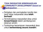 tiga indikator keberhasilan community development based on participation