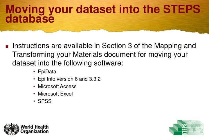 Moving your dataset into the STEPS database