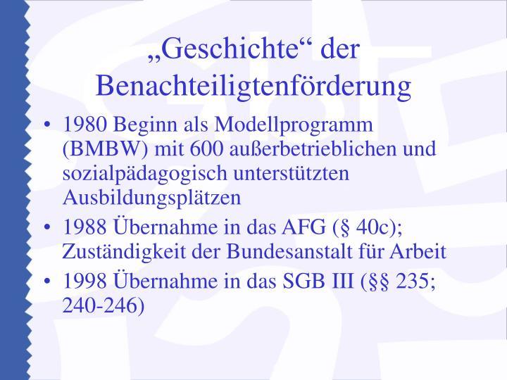 """""""Geschichte"""" der Benachteiligtenförderung"""