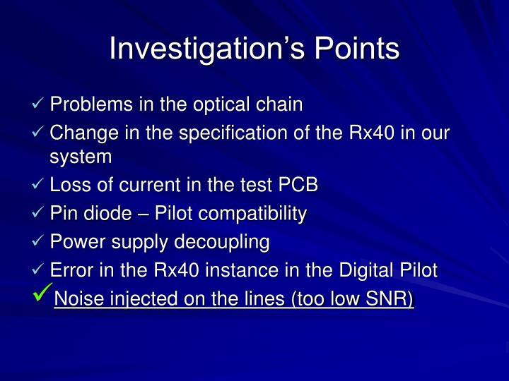 Investigation's Points