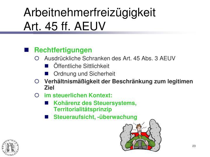 Arbeitnehmerfreizügigkeit Art.45 ff. AEUV
