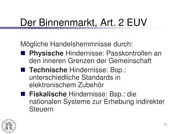 Der Binnenmarkt, Art. 2 EUV