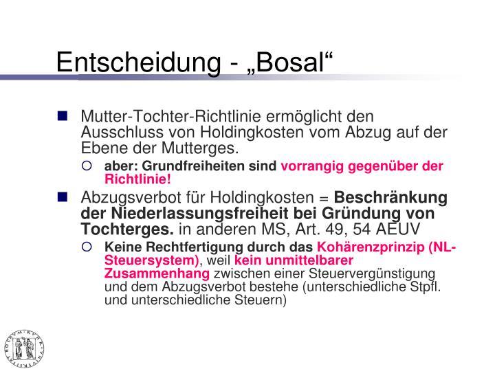 """Entscheidung - """"Bosal"""""""