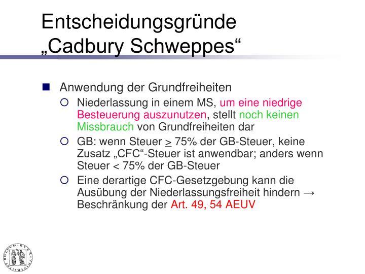 """Entscheidungsgründe """"Cadbury Schweppes"""""""
