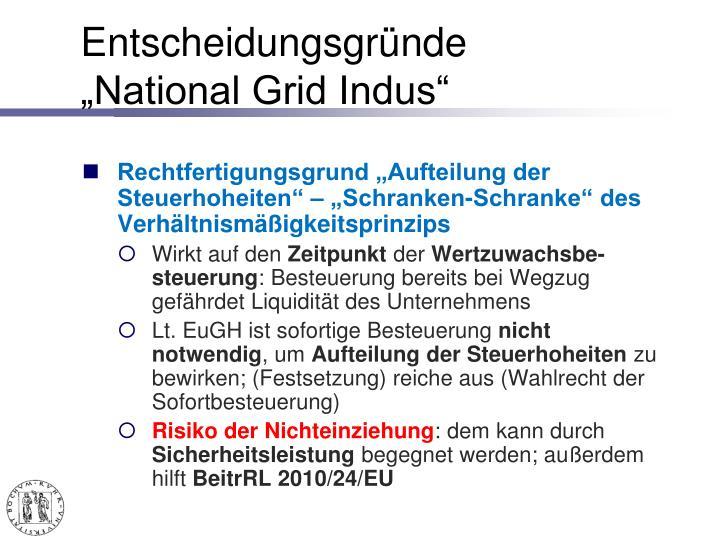 "Entscheidungsgründe ""National Grid Indus"""