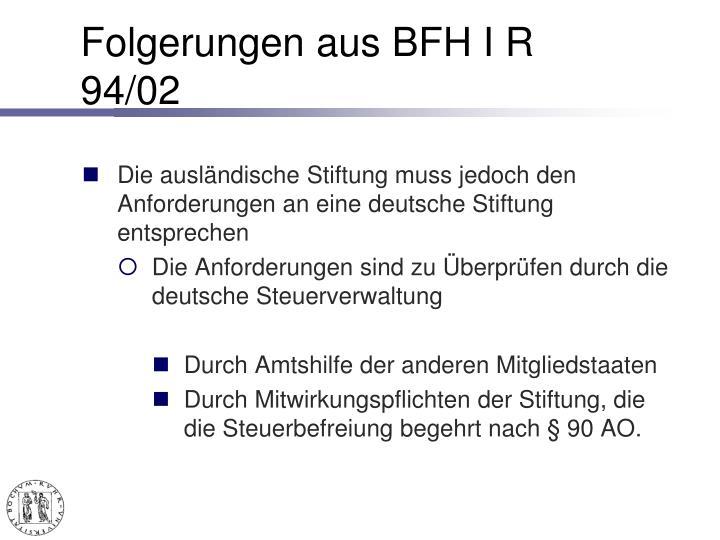 Folgerungen aus BFH I R 94/02