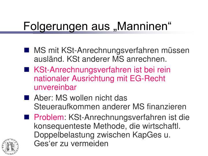 """Folgerungen aus """"Manninen"""""""