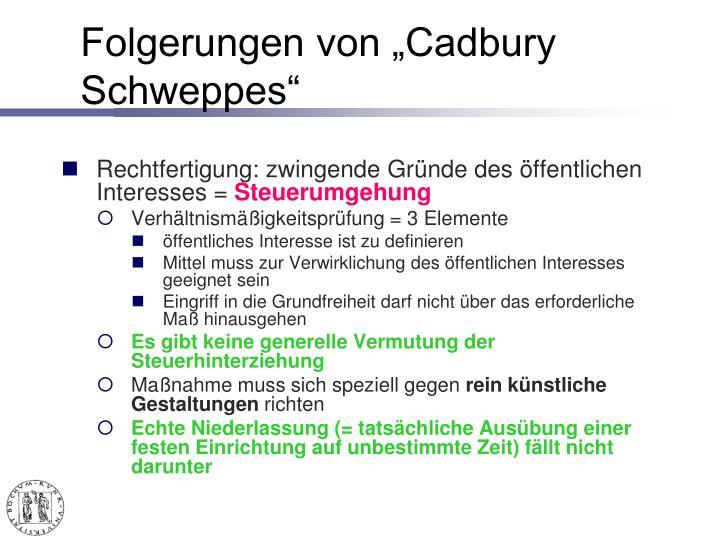 """Folgerungen von """"Cadbury Schweppes"""""""