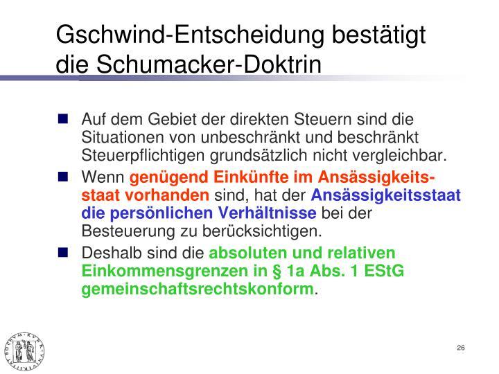 Gschwind-Entscheidung bestätigt die Schumacker-Doktrin