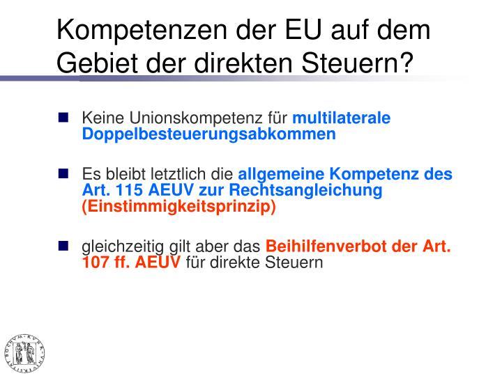 Kompetenzen der EU auf dem Gebiet der direkten Steuern?