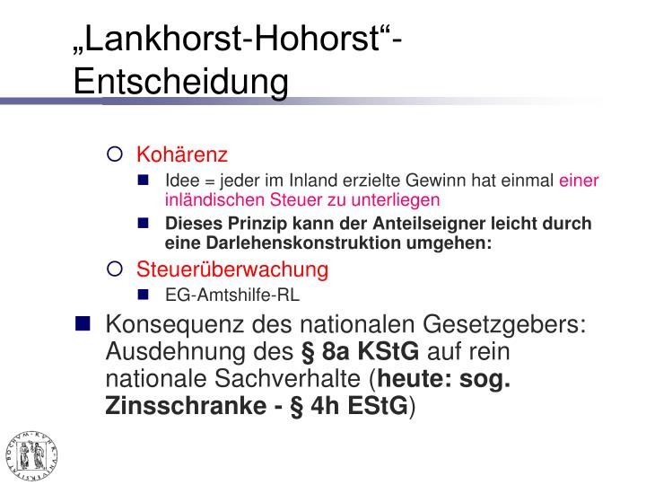 """Lankhorst-Hohorst""-Entscheidung"