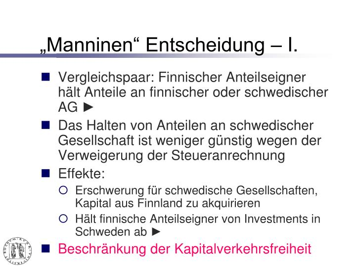 """Manninen"" Entscheidung – I."