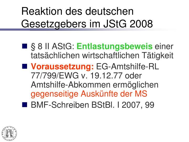 Reaktion des deutschen Gesetzgebers im JStG 2008
