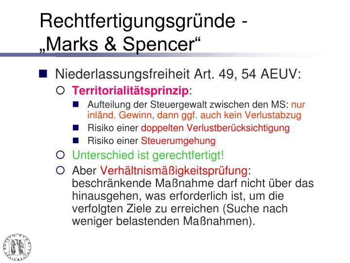 """Rechtfertigungsgründe -""""Marks & Spencer"""""""