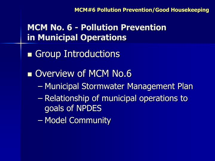 Mcm no 6 pollution prevention in municipal operations