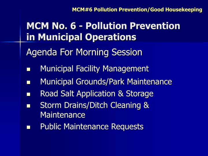 Mcm no 6 pollution prevention in municipal operations1