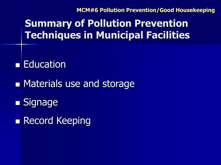 Summary of Pollution Prevention Techniques in Municipal Facilities