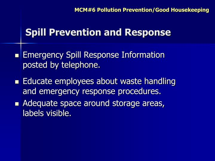 Spill Prevention and Response