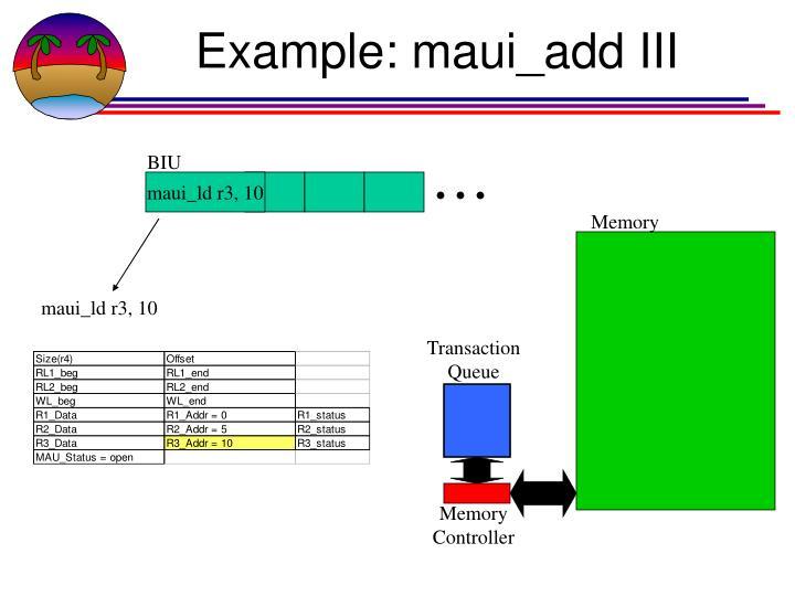Example: maui_add III