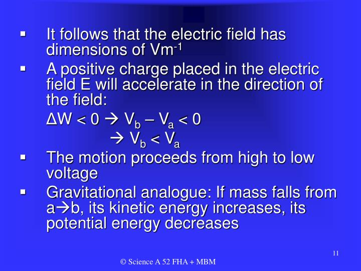 It follows that the electric field has dimensions of Vm