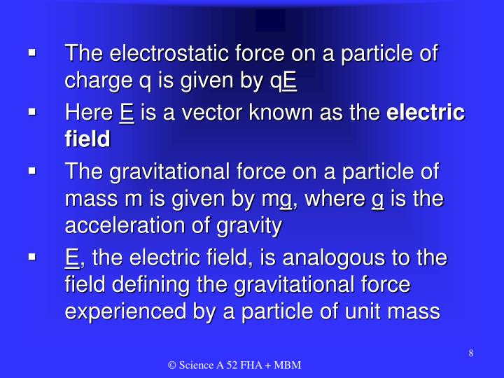 The electrostatic force on a particle of charge q is given by q