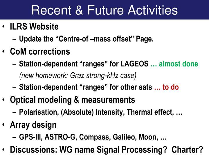 Recent & Future Activities