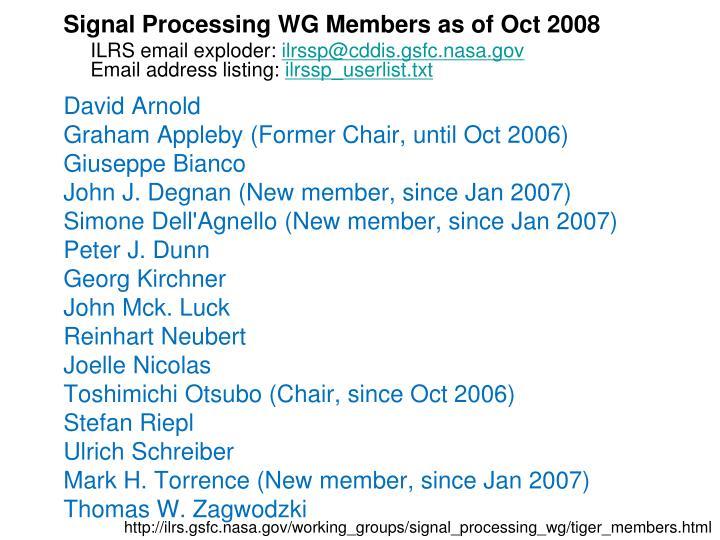 Signal Processing WG Members as of Oct 2008