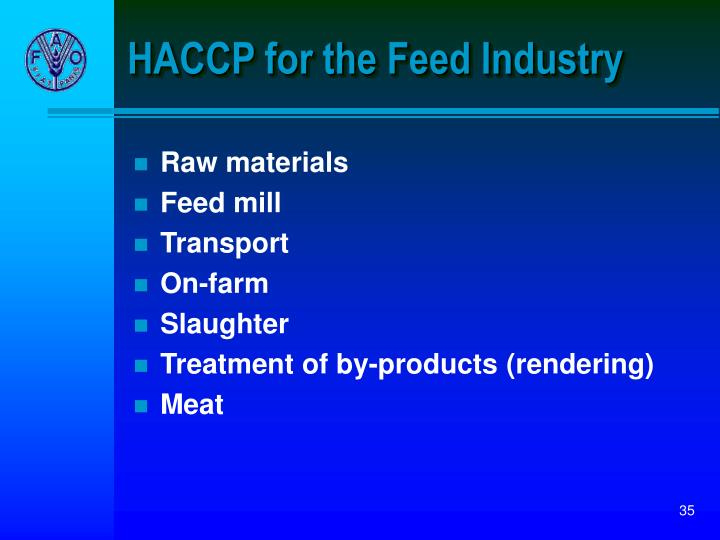 HACCP for the Feed Industry