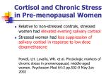 cortisol and chronic stress in pre menopausal women