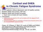 cortisol and dhea in chronic fatigue syndrome