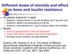 different doses of steroids and effect on bone and insulin resistance