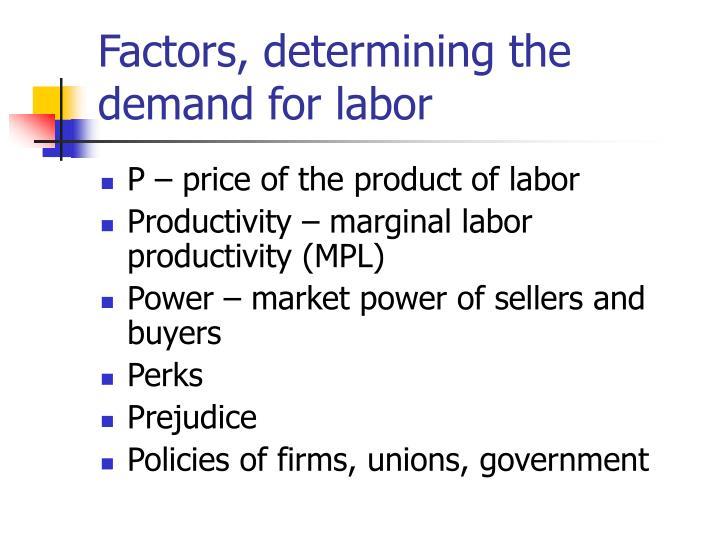 Factors, determining the demand for labor