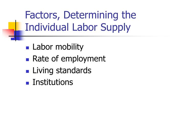 Factors, Determining the Individual Labor Supply