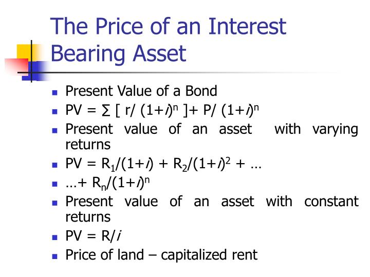 The Price of an Interest Bearing Asset