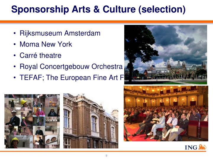 Sponsorship Arts & Culture (selection)