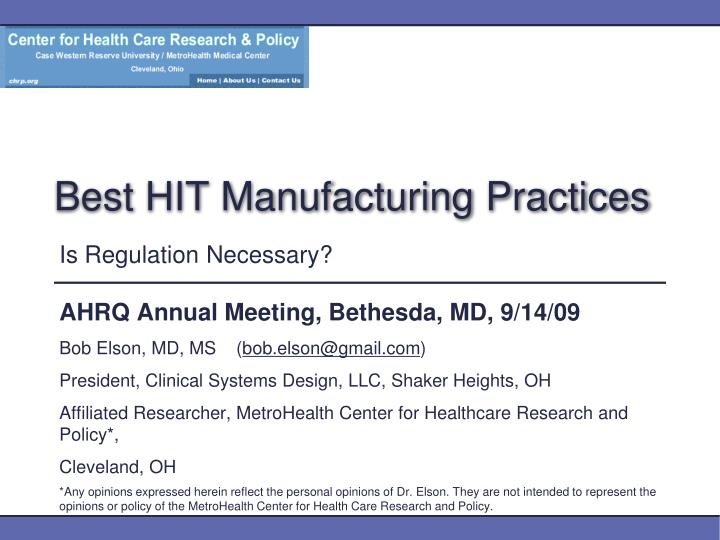 best hit manufacturing practices n.
